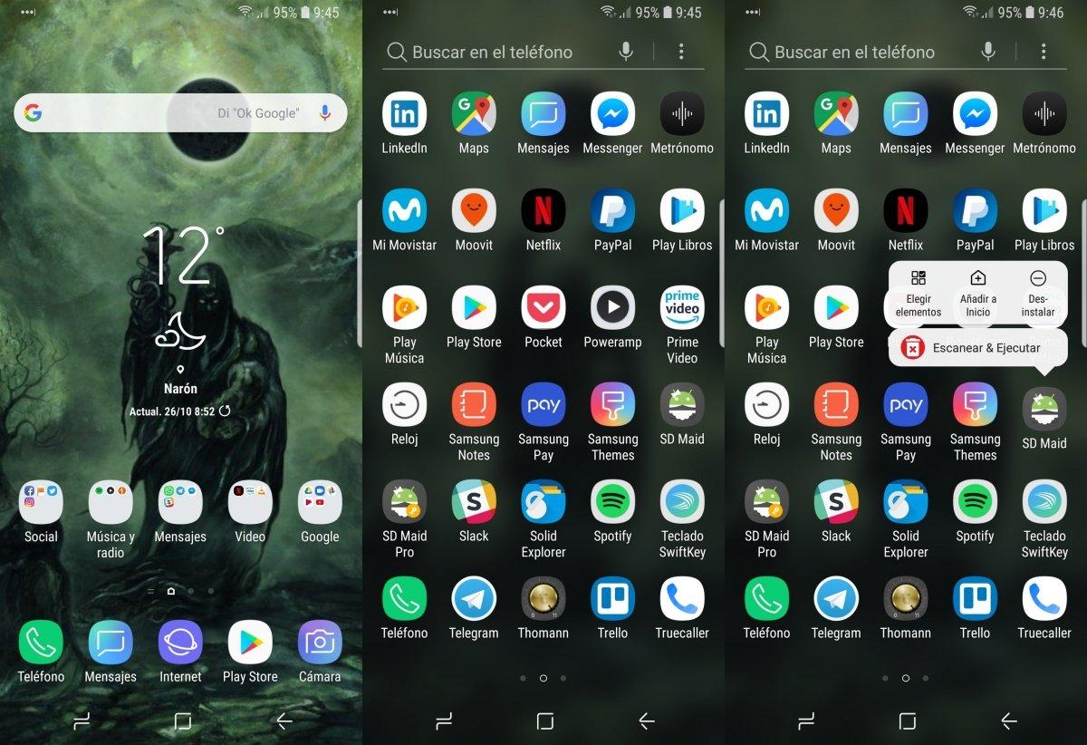 Desinstalando apps desde el launcher stock de Samsung