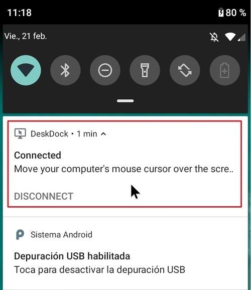 DeskDock funcionando en Android