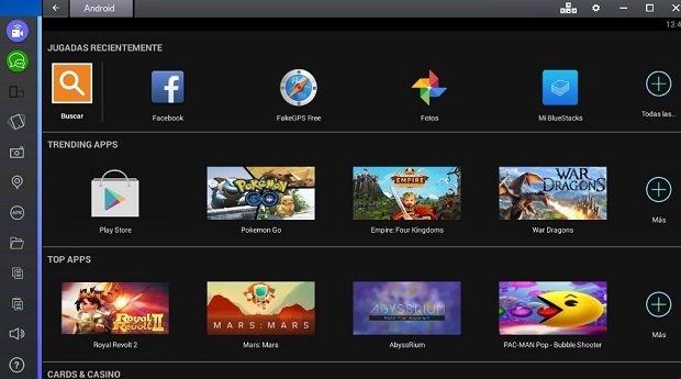 Detalle de la interfaz del emulador BlueStacks