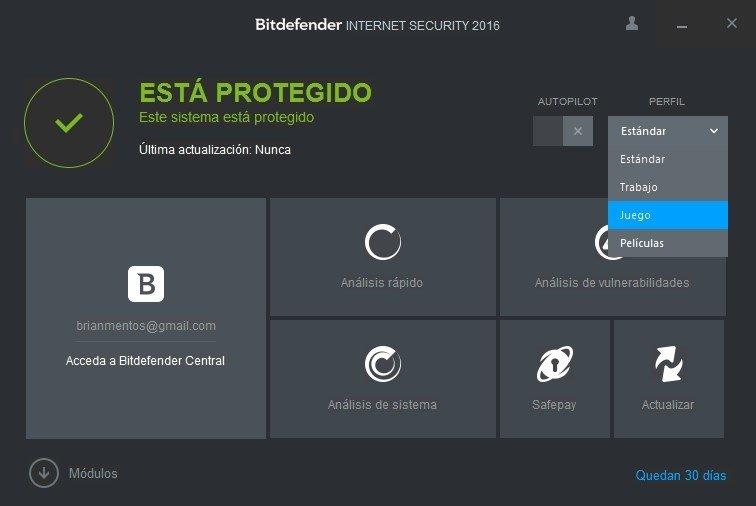 Diferentes perfiles de usuario en Bitdefender Internet Security 2016