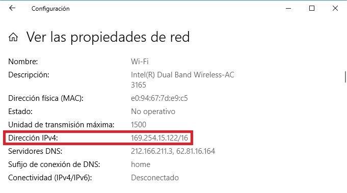 Dirección IPv4 del equipo conectado