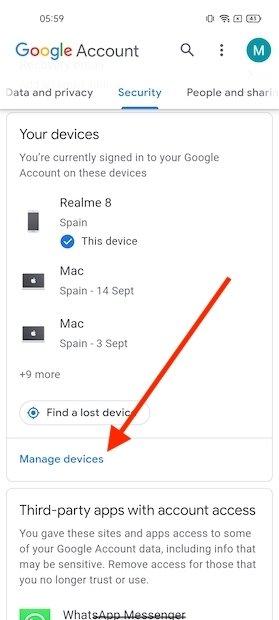 Dispositivos en la cuenta de Google