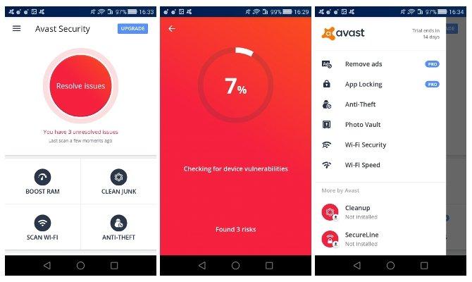 Distintas pantallas de Avast para Android