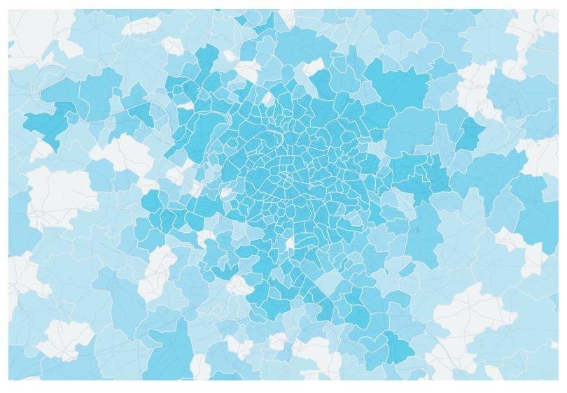 Distribución por zonas de usuarios-conductores de Uber en París