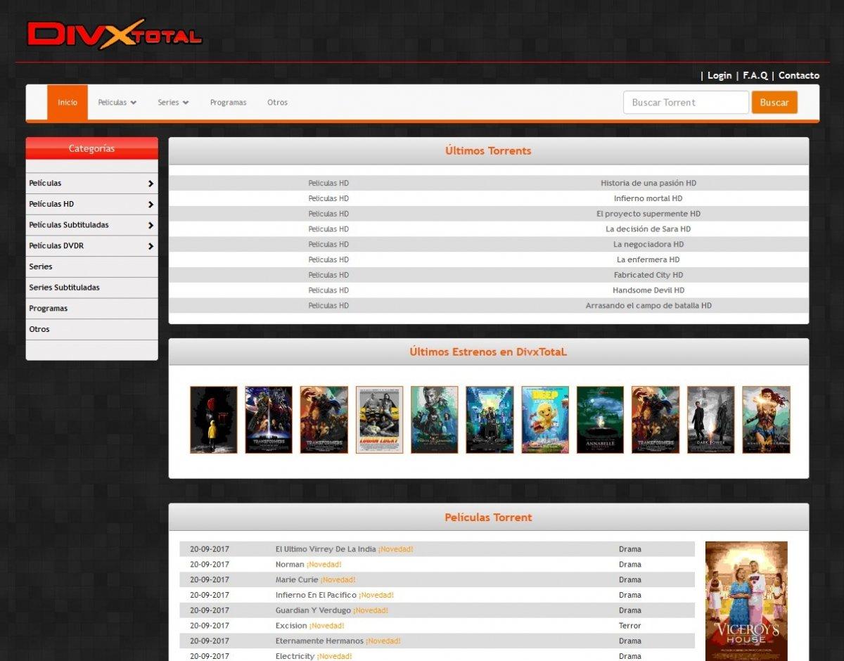 DivXtotal resiste ofreciendo torrents de todo tipo