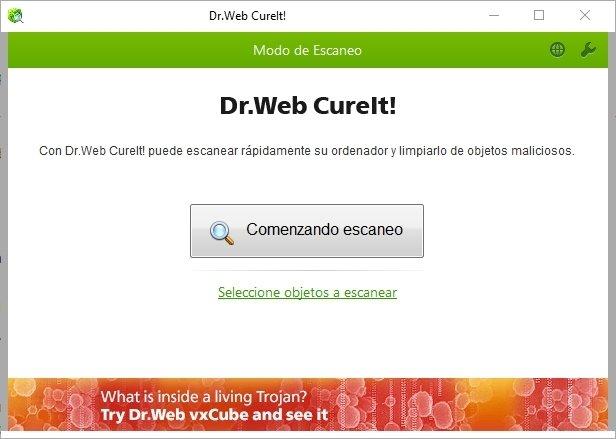 Ventana de Dr Web CureIt!