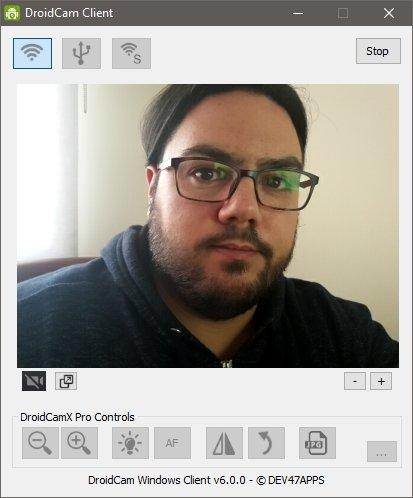 Droidcam funcionando en el PC