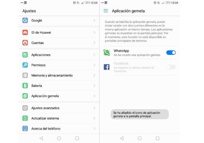 Duplicar WhatsApp en un teléfono Honor o Huawei