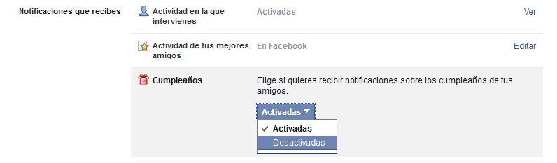 Editando las notificaciones de Facebook podremos desactivar los cumpleaños