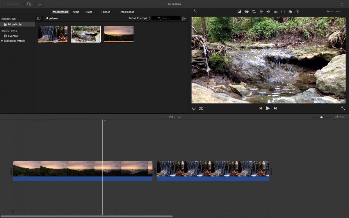 Editando un vídeo en iMovie