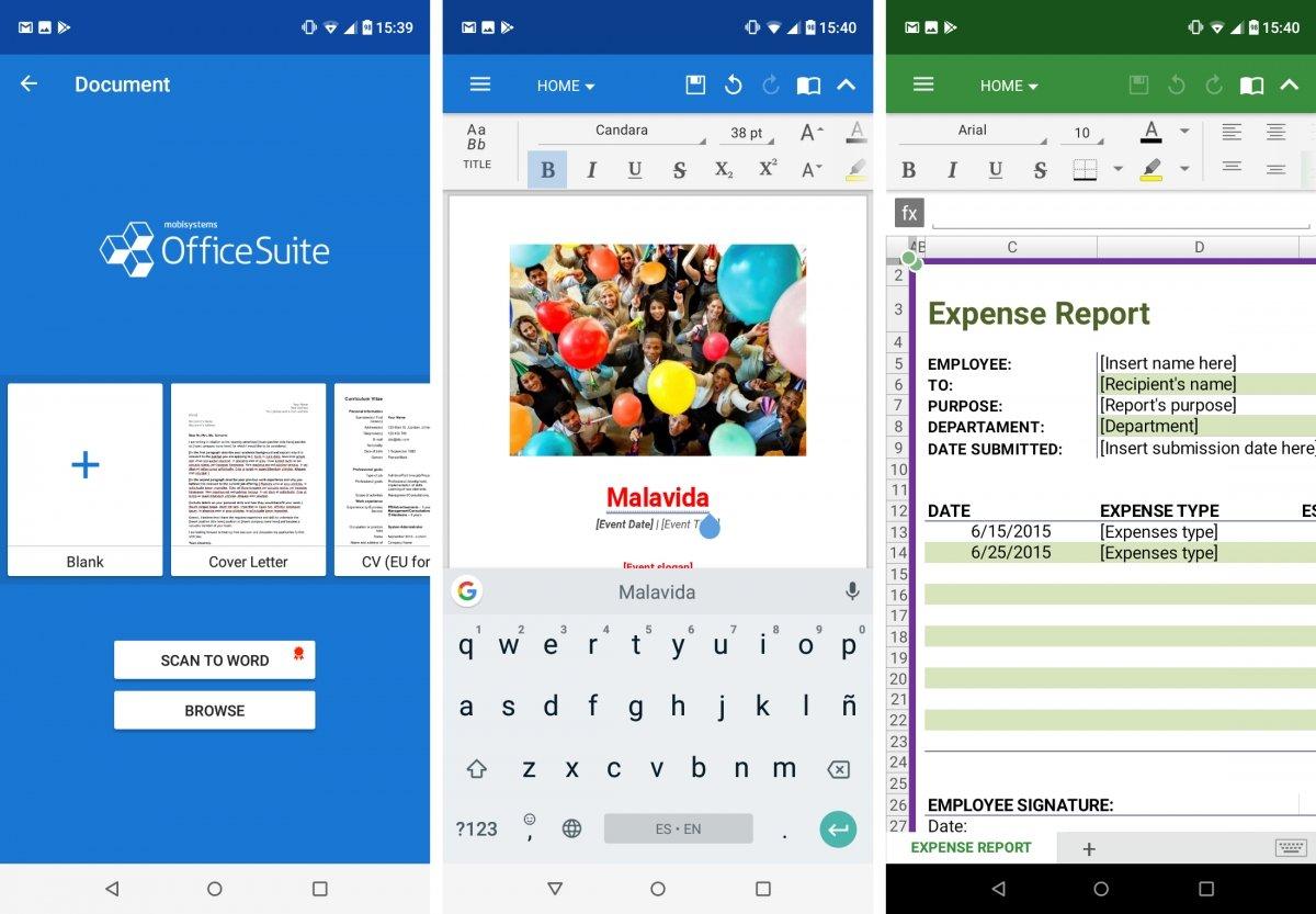 Editor de texto y hoja de cálculo en OfficeSuite