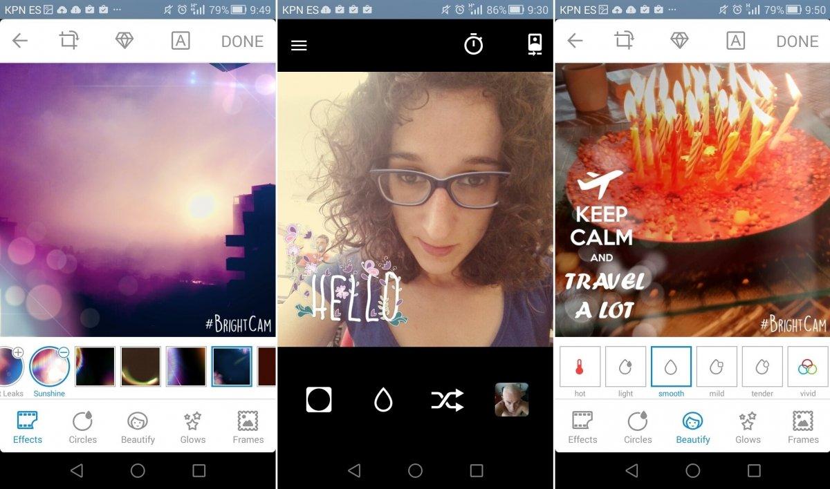 Efectos y modo selfie de Bright Cámara para Facebook