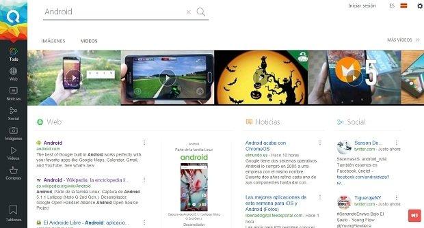 Ejemplo de resultados de búsquedas en Qwant
