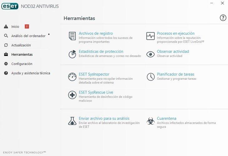 El antivirus NOD32 ofrece un completo paquete de herramientas de seguridad