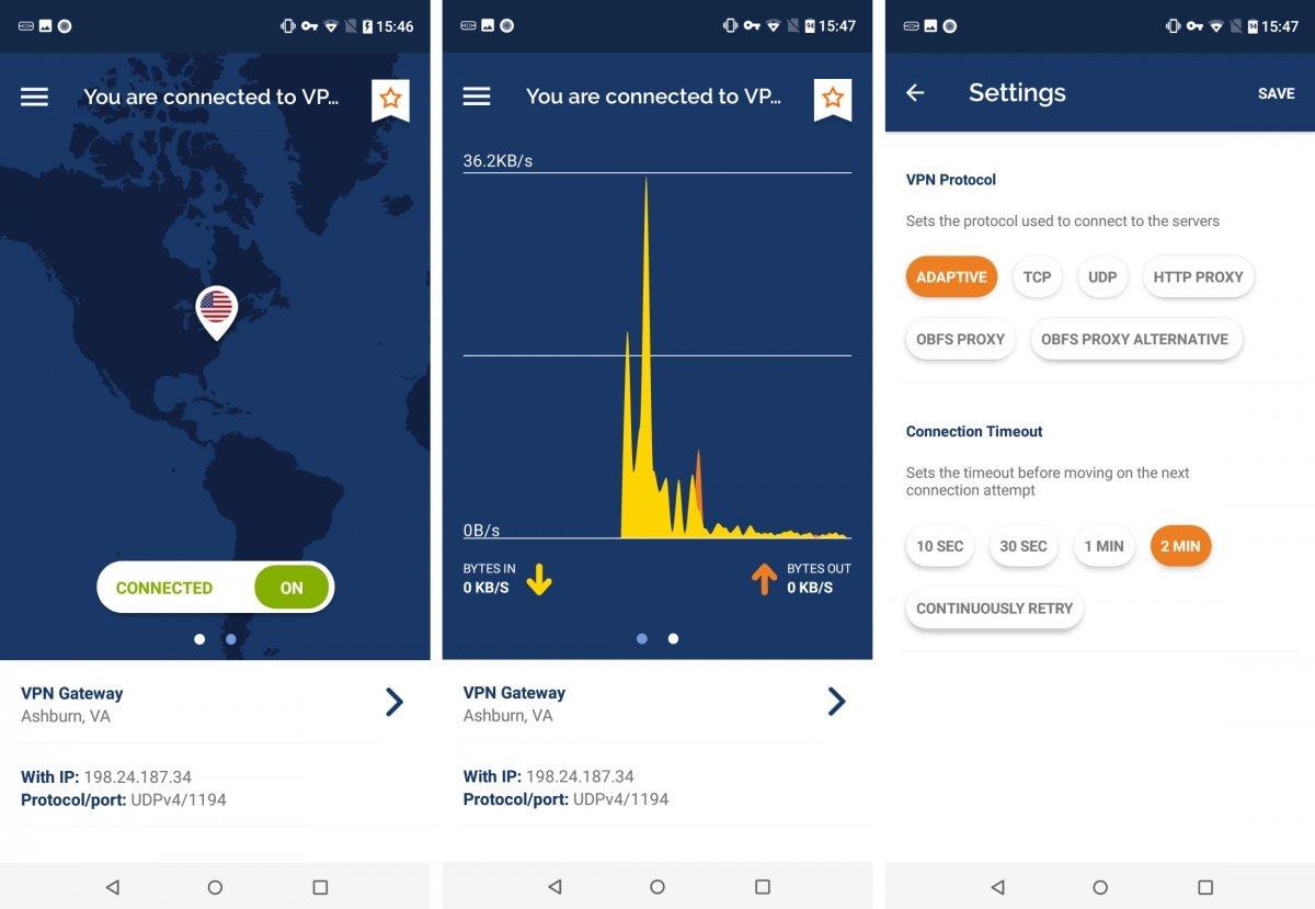 El aspecto de Private Tunnel para Android