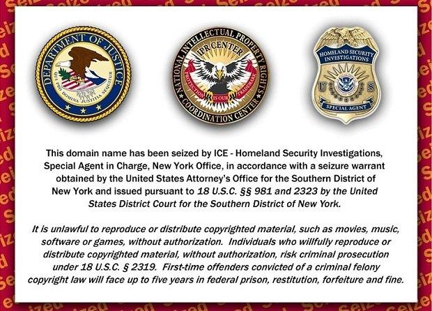 El aspecto de Rojadirecta cuando su dominio fue embargada por el gobierno de EE.UU.