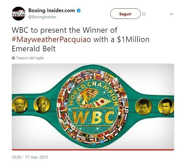 El cinturón que se llevará el ganador del combate