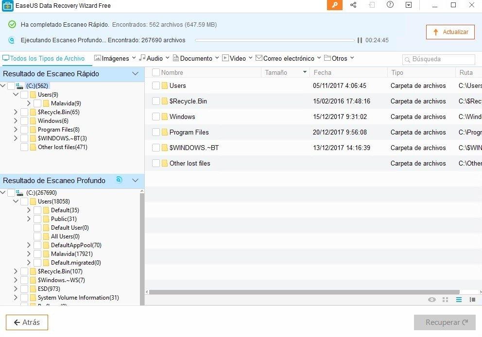 El escaneado de archivos de EaseUS Data Recovery Wizard Profesional puede ofrecer muchos resultados