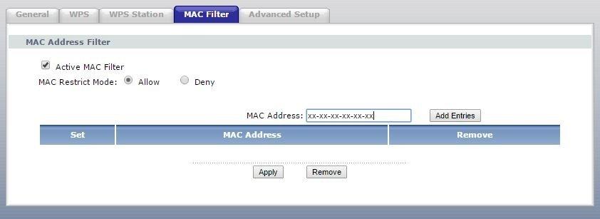 El filtrado MAC se establece desde el propio router