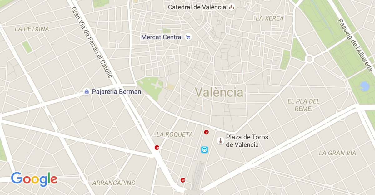 El mapa de la ciudad de Valencia en Google Maps