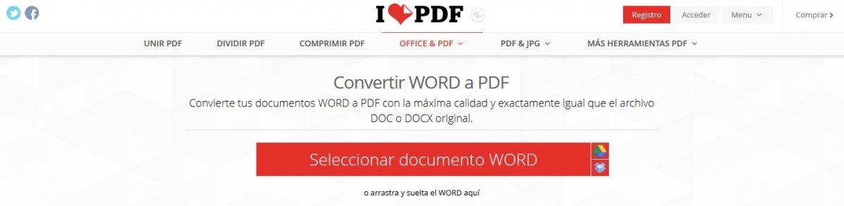 El proceso que ofrece iLovePDF para convertir archivos a PDF no puede ser más sencillo