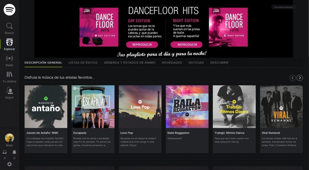 El reproductor web de Spotify es perfecto para escuchar música online