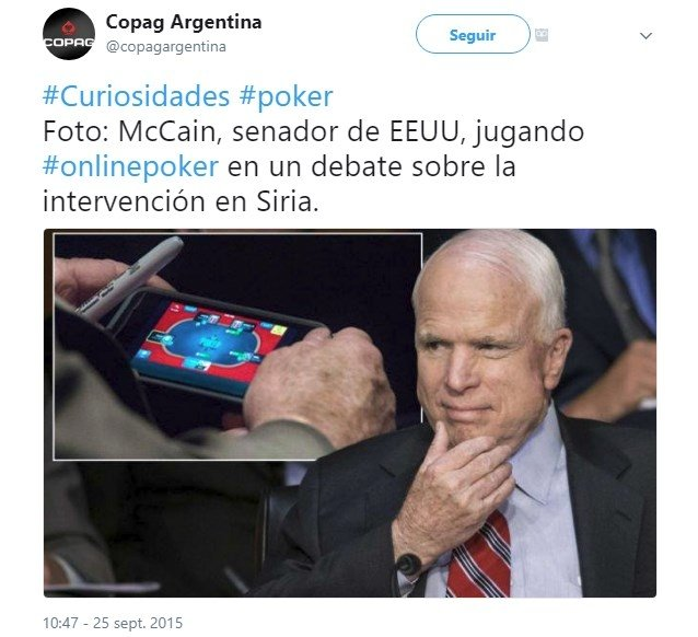 El Senador McCain cazado jugando al póker online durante el debate