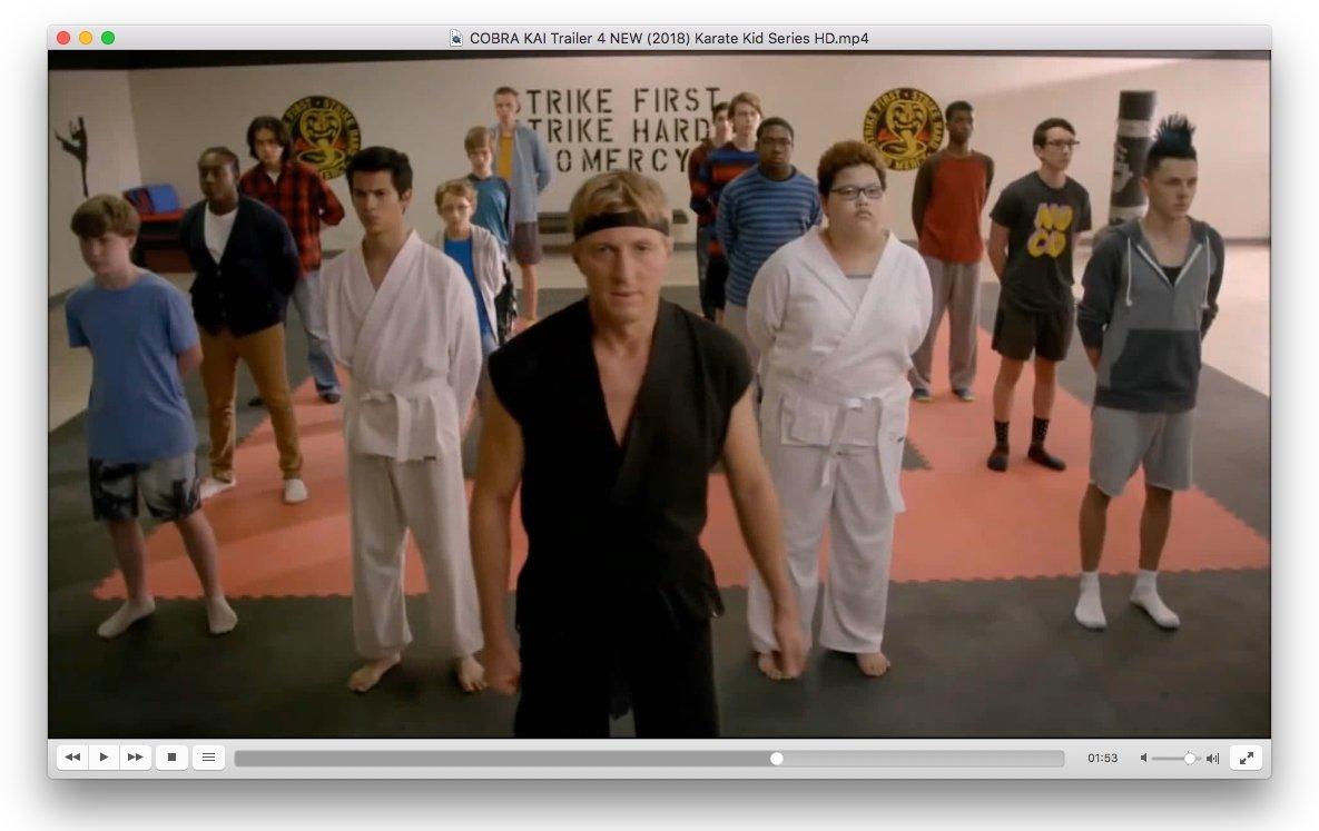 El tráiler de Cobra Kai en VLC para Mac