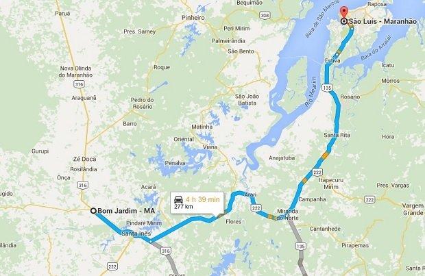 El trayecto entre Bom Jardim y Sao Luis según Google Maps