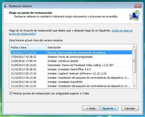 Elección del punto de restauración de Windows Vista
