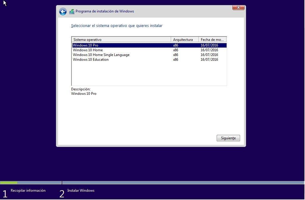 Elegir qué versión de Windows queremos instalar