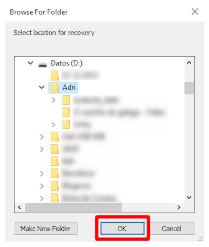 Elige la carpeta en la que se recuperarán los archivos y pulsa en OK