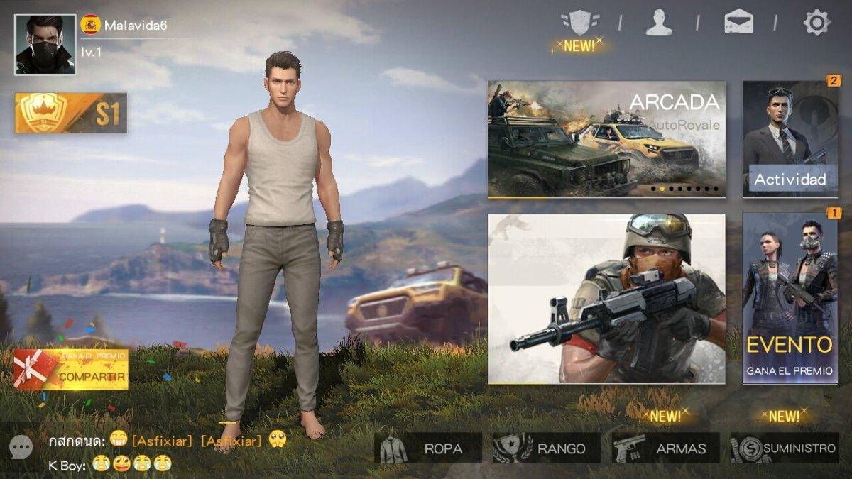 Eligiendo personaje y modo de juego en Survivor Royale