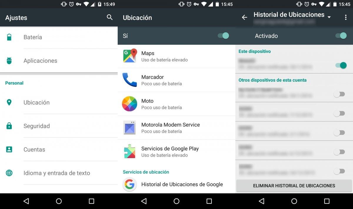 Eliminando el historial de ubicaciones en Android