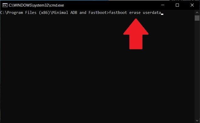 Eliminar los datos de usuario con fastboot