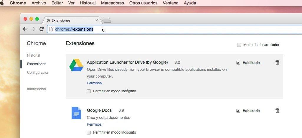 Eliminar MacVX de las extensiones de Chrome