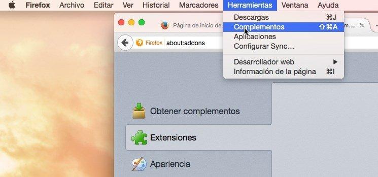 Eliminar MacVX de las extensiones de Firefox