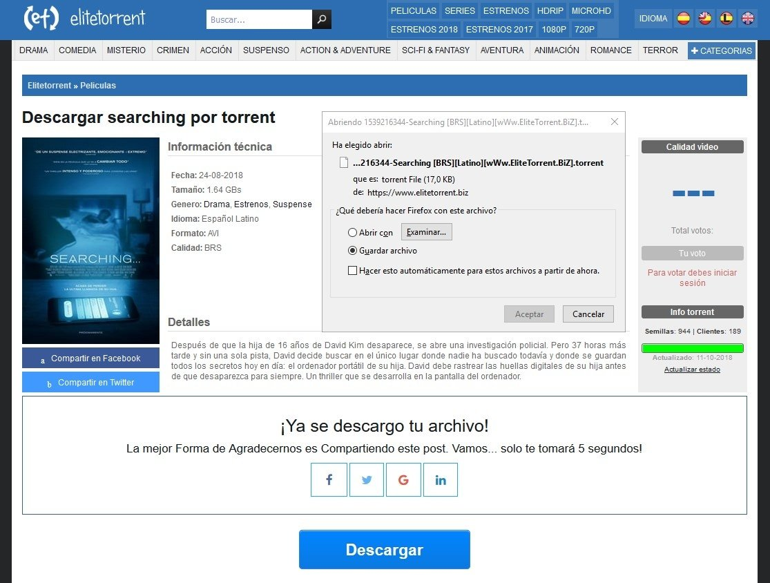 EliteTorrent ofrece torrents en español y latino