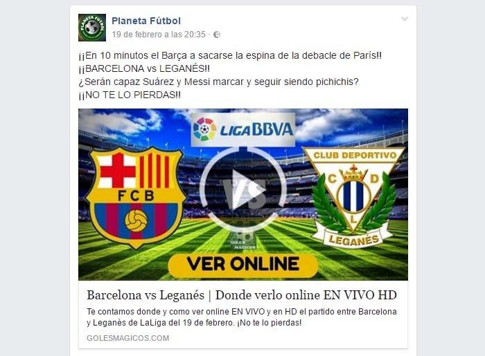 Emisión en directo en Facebook de la página Planeta Fútbol