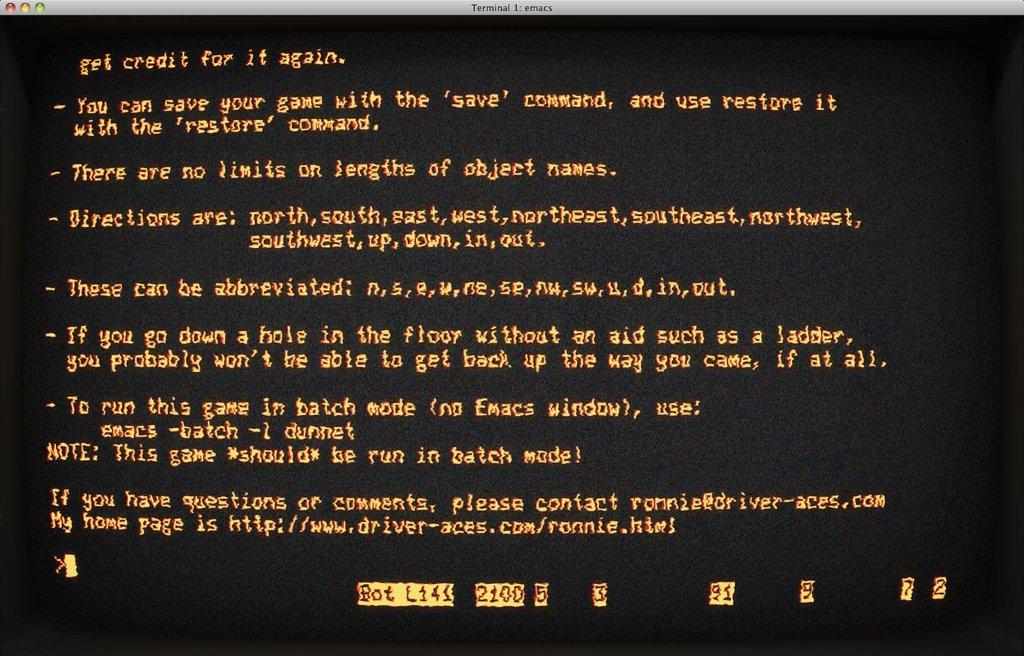 Emulador de terminal con el manual de una aventura conversacional