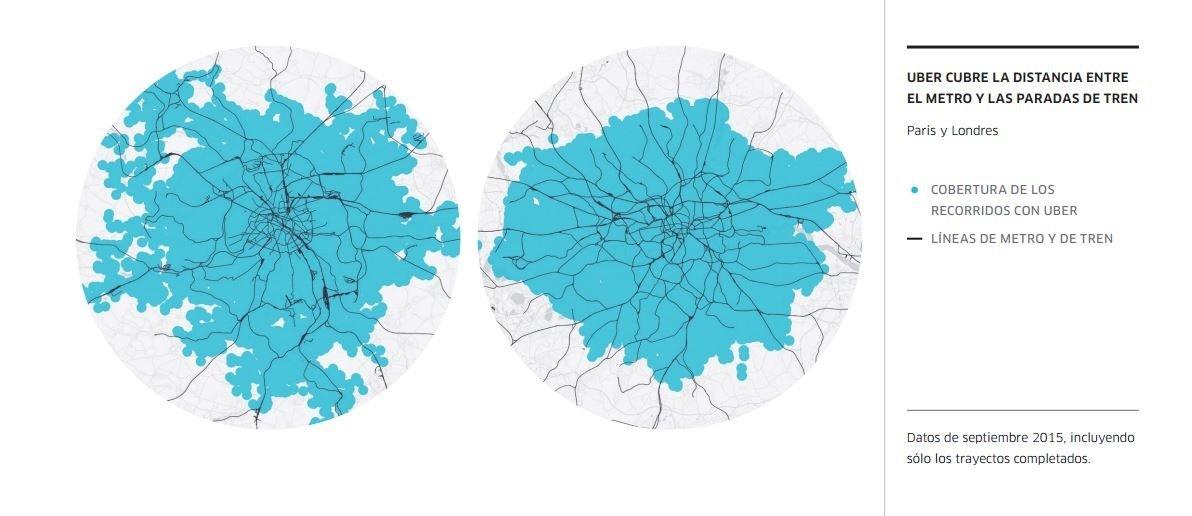 En azul las áreas cubiertas por Uber y en negro las líneas de transporte; mapas de París y Londres