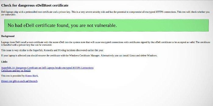 En esta web se puede comprobar que no estamos infectados por eDellRoot