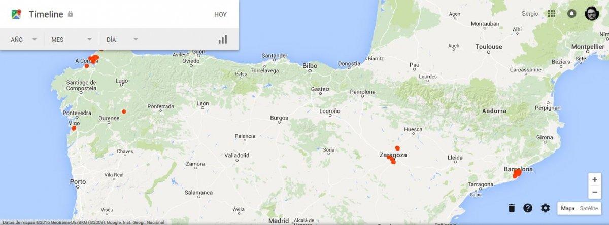 En este mapa se ven todas las ubicaciones en que has estado