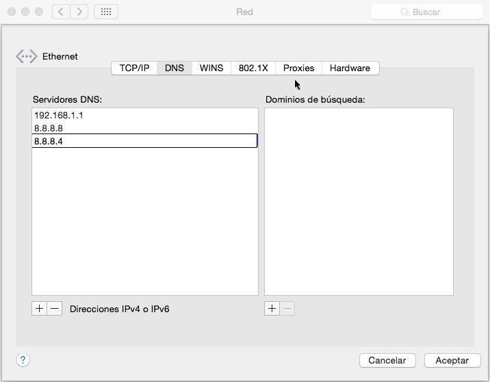 En OS X es muy fácil configurar los DNS