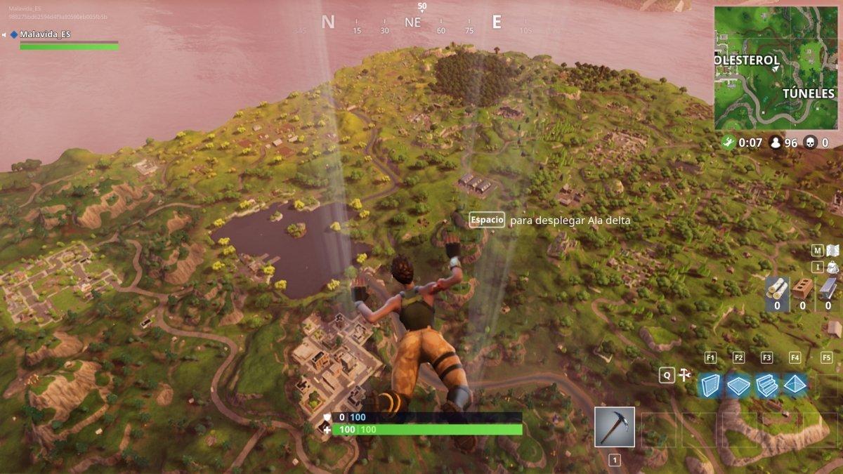 En paracaídas hasta el escenario de Fortnite