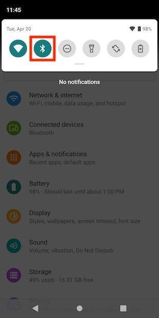 Encender y apagar el Bluetooth