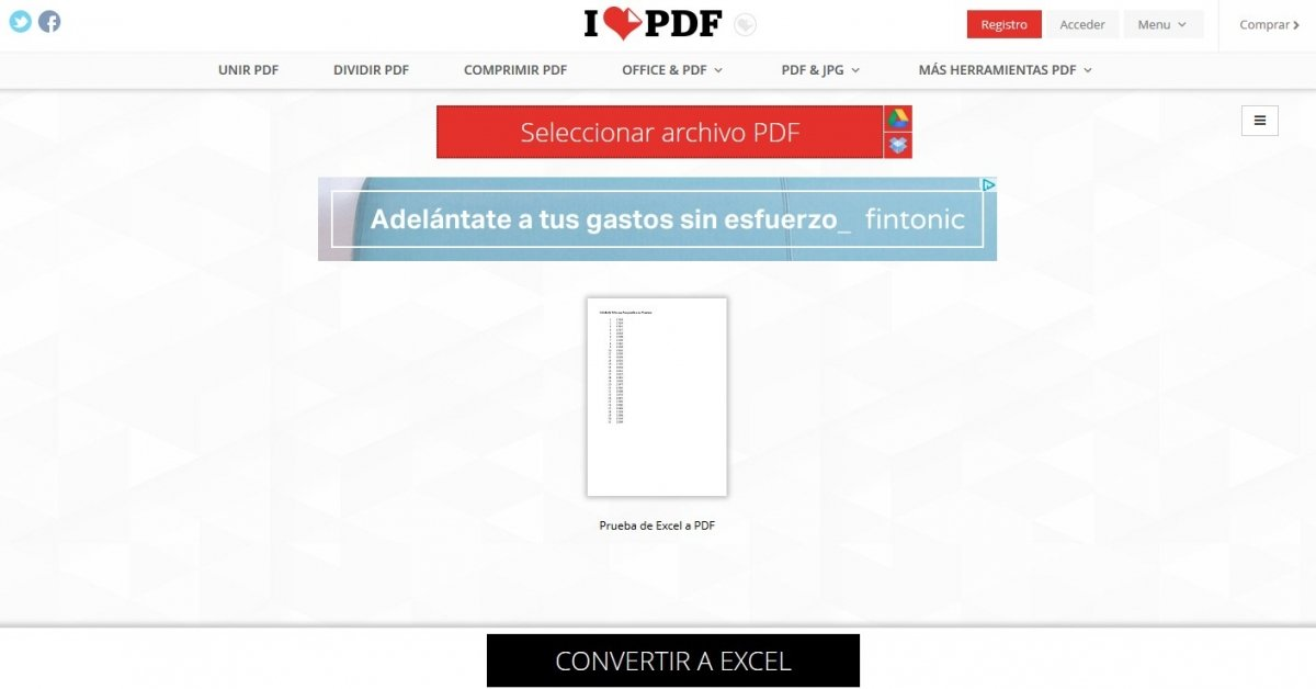 Entre las numerosas funciones de iLovePDF encontramos la conversión a archivos PDF en Excel