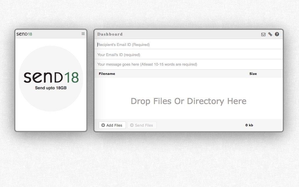 Envía archivos de hasta 18 GB de forma gratuita