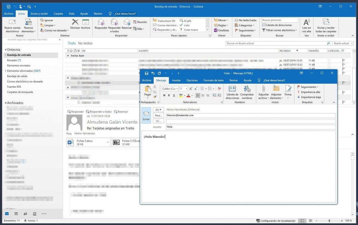 Envío de un correo con Outlook