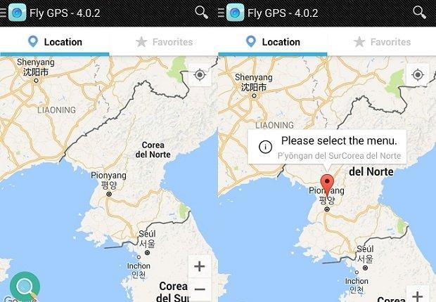 Escoge la ubicación que deseas falsear sobre el mapa de Fly GPS